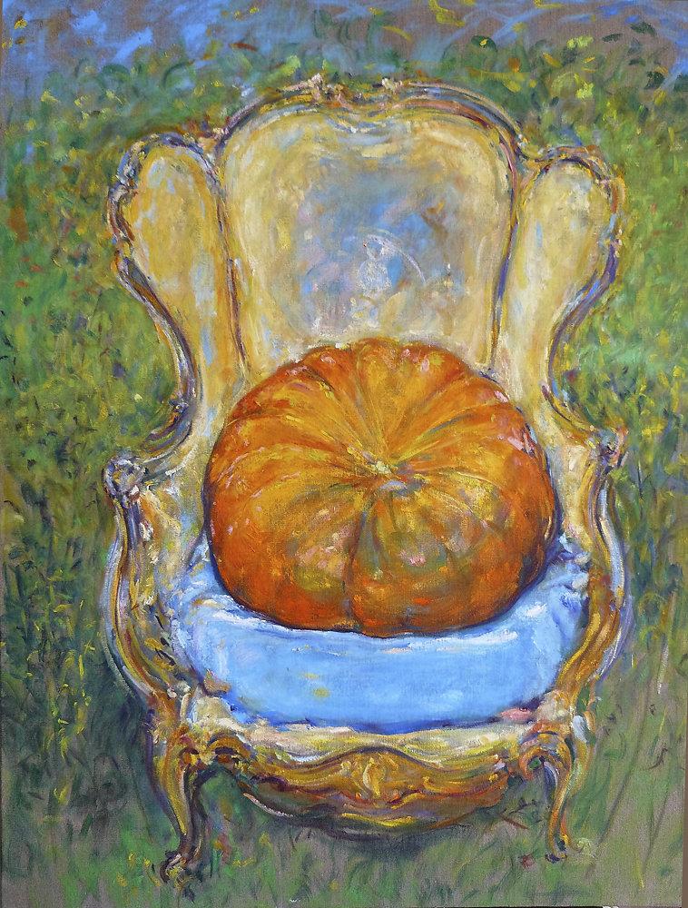 Pumpkin on chair #4