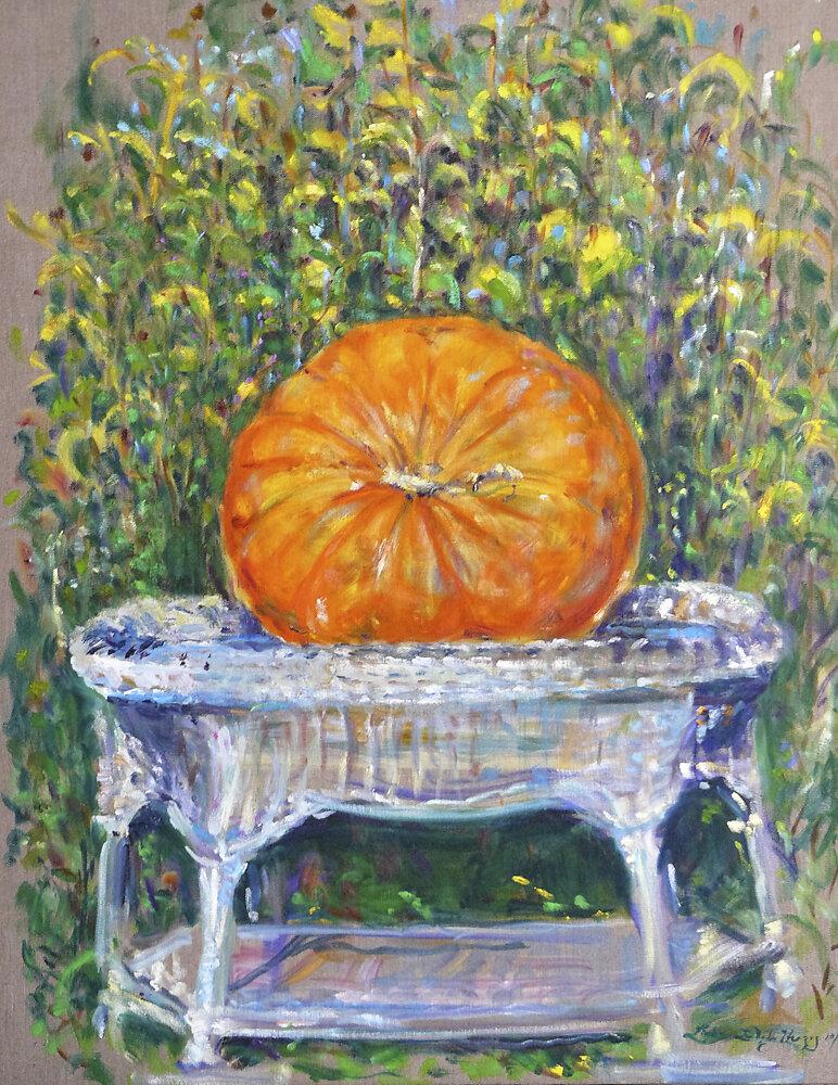 Pumpkin on Wicker Table