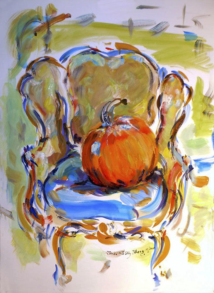 Alex's Pumpkin on Chair